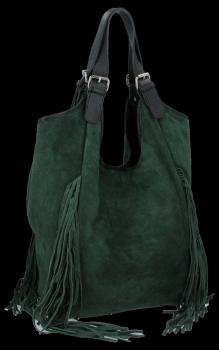 Módna kožená nákupná taška so strapcami Fľaša Vittoria Gotti Zelená