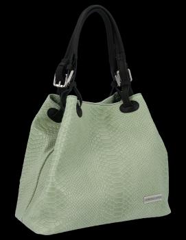 VITTORIA GOTTI talianska Kožená taška aligátor vzor svetlo zelená