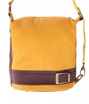 Taška batoh Mäkká Pravá koža žltá