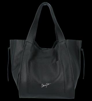 Vittoria Gotti talianska Kožená nákupná taška s kozmetickou taškou Čierna