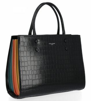 Elegantná dámska taška so vzorom korytnačky David Jones čierny