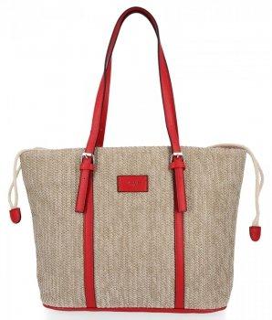 Ratanové tašky pre ženy Shopper taška David Jones červený