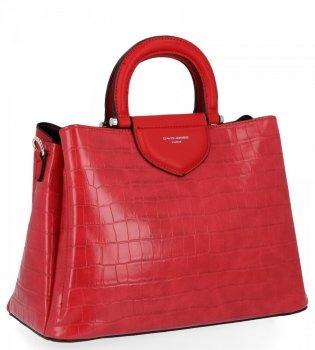 Dámska taška s tromi bunkami, taška so zvieracím vzorom David Jones červený