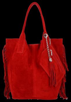 Módna kožená nákupná taška vyrobená zo semišu v Boho štýle od Vittoria Gotti červený