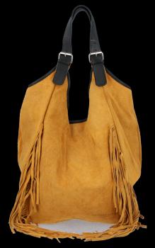 Módna kožená taška Shopper s okrajmi od Vittoria Gotti svetlo červená