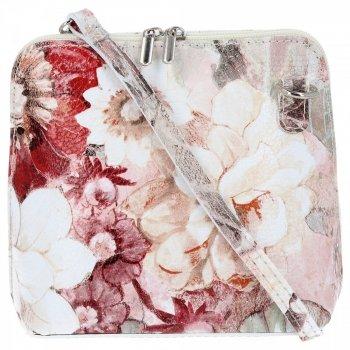 Vittoria Gotti značkový kožený poštár, vyrobený v Taliansku v maľovanom kvetinovom vzore béžová