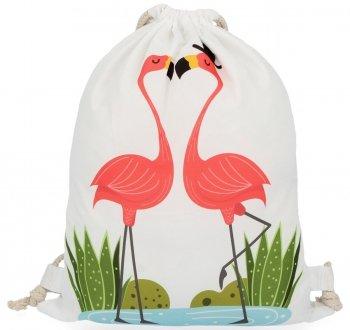 Batoh dámska praktická taška s módnym plameniakovým vzorom love biela