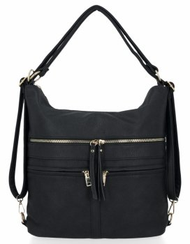 Univerzálne dámske tašky XL s funkciou batohu Herisson čierny