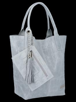 Univerzálna kožená nákupná taška XL v zvieracom štýle od Vittoria Gotti svetlo šedá