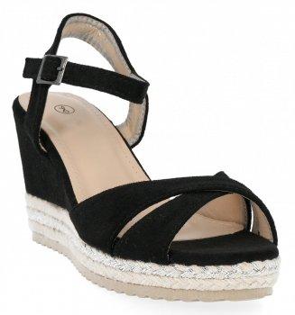 Čierne dámske klinové sandále od Lady Glory