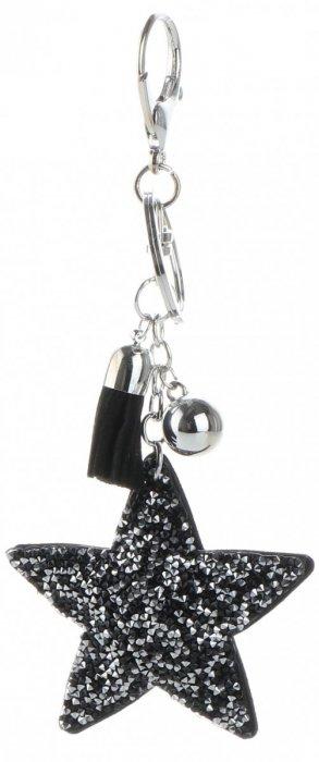 Přívěšek ke kabelce Hvězdička s křišťálky černý-stříbrný