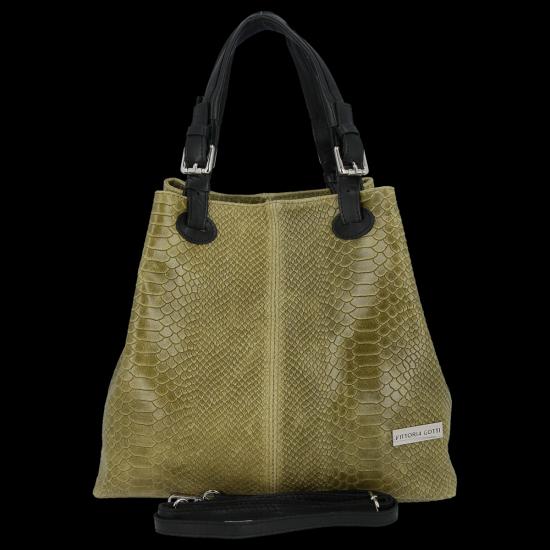 Univerzální kožená italská kabelka Vittoria Gotti Khaki