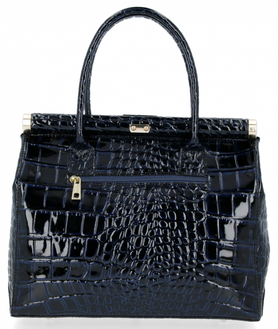 Elegantní Lakovaná Kožená Kabelka Kufřík s motivem aligátora Vittoria Gotti Made in Italy Tmavě modrá