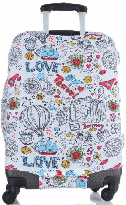 Obal na kufr Snowball L size Love Travel vícebarevný bílá