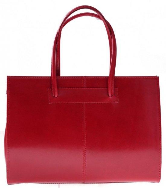 Kožená kabelka aktovka A4 Genuine Leather červená