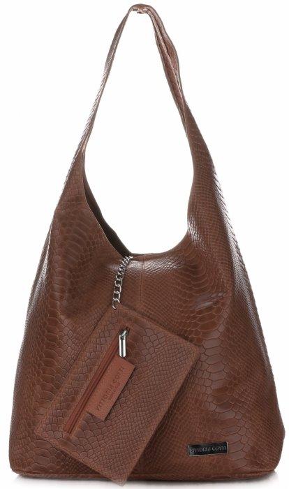 c9ba66f65920 Velká dámská kožená kabelka Shopper Aligátor Vittoria Gotti hnědá ...