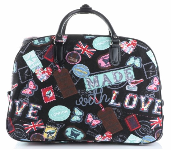 Cestovní taška na kolečkách s výsuvnou rukojetí v motýlech Or&Mi multicolor černá