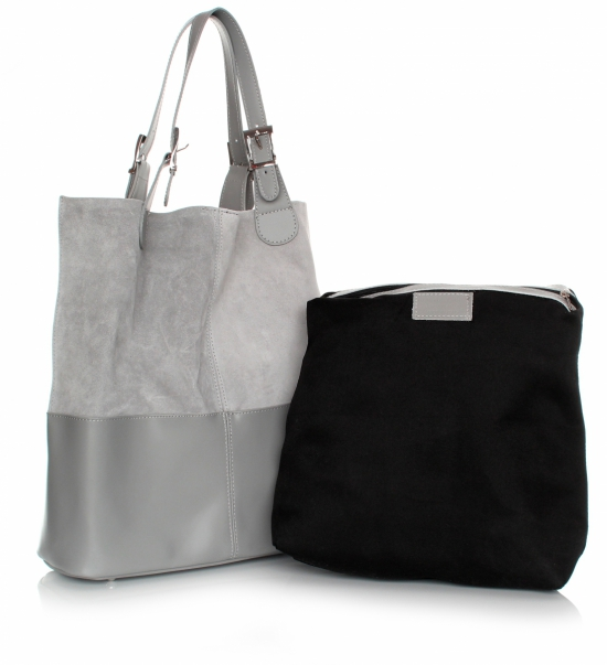 Kožená kabelka exkluzivní Shopper bag Světle šedá - Panikabelkova.cz 677382b74a7