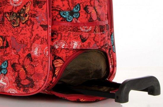Cestovní taška na kolečkách s výsuvnou rukojetí motýli Or&Mi multicolor Červená