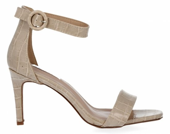 Beżowe sandały na obcasie w motyw zwierzęcy firmy Bellucci
