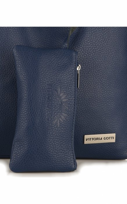 Torebki Skórzane VITTORIA GOTTI Modny Shopperbag z Etui Granat