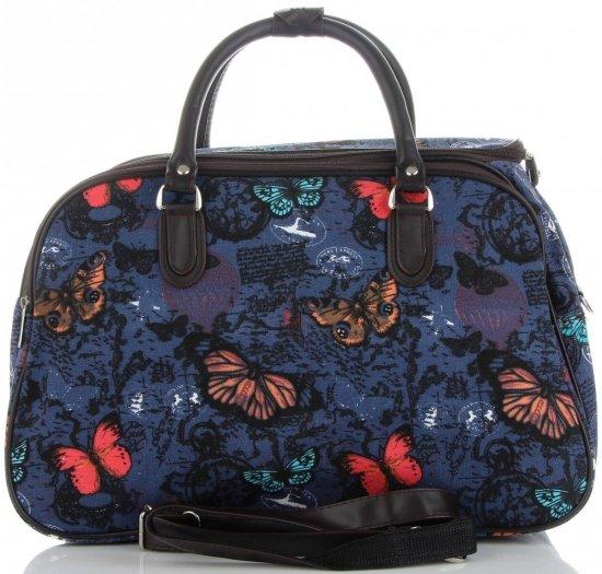 Duża Torba Podróżna Kuferek Or&Mi wzór w motyle Multikolor - Niebieska