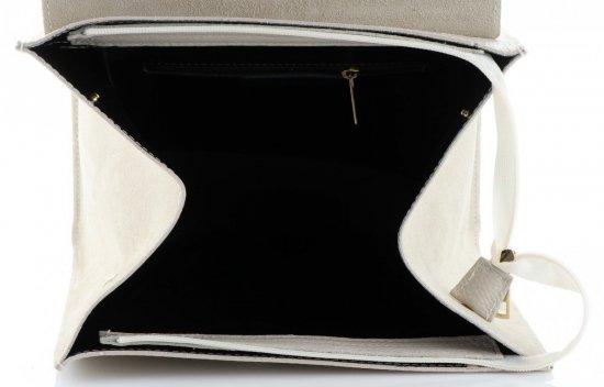 Elegancki Kuferek Skórzany Made in Italy wzór Aligatora Beżowy