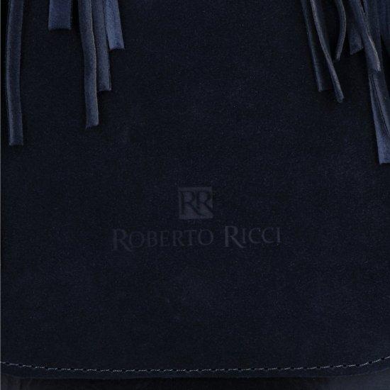 Modne Listonoszki Damskie w stylu boho firmy Roberto Ricci Zamsz Naturalny/Skóra Eko Granat