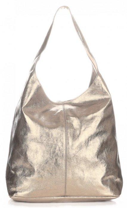 e4c59c479997f Modny Shopper XL z Lakierowanej Skóry Naturalnej Złoty ...