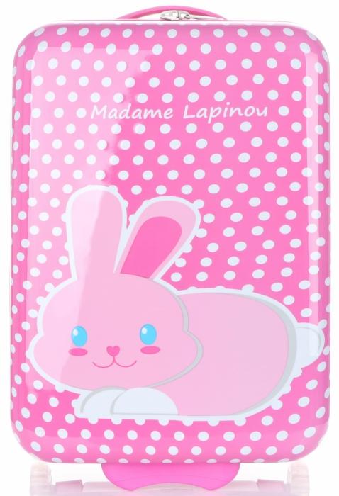 e7945366277e6 Walizka Kabinówka Dla Dzieci w Kropki z Króliczkiem Firmy Madisson  Multikolor - Różowa
