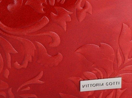 VITTORIA GOTTI Made in Italy Duża Torba Skórzana XXL w Tłoczone Wzory Czerwona