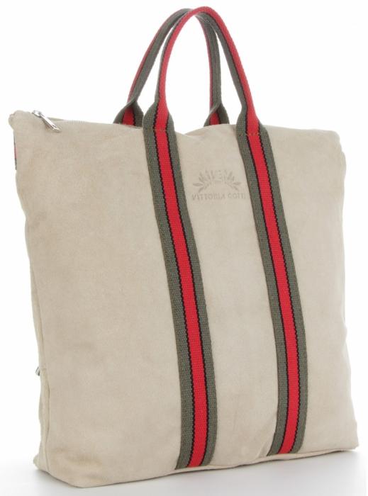 e304ef4c3f11b Vittoria Gotti Torebki Skórzane w modne paski Firmowy Shopper Made in Italy  z funkcją Plecaczka Beż