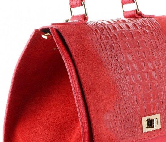 Elegancki Kuferek Skórzany Made in Italy wzór Aligatora Czerwony
