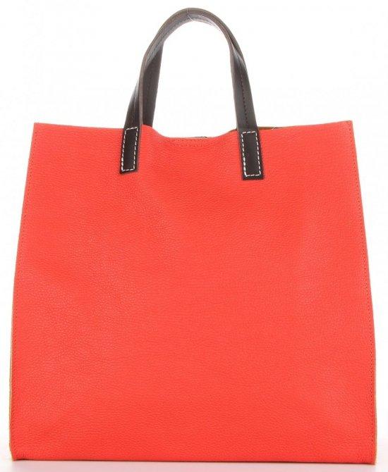 Praktyczne Torebki Skórzane 2 w 1 Shopper z Listonoszką firmy Genuine Leather Malinowa