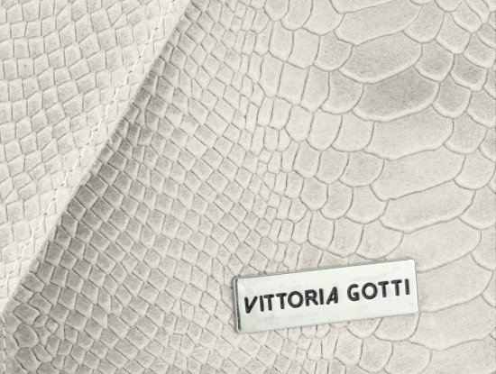 Torebki Skórzane Vittoria Gotti Włoski Shopper XL wzór Aligatora Jasno Beżowa