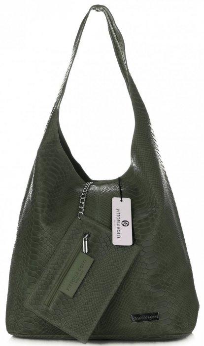 Torebki Skórzane Vittoria Gotti Włoski Shopper XL wzór Aligatora Butelkowa Zieleń