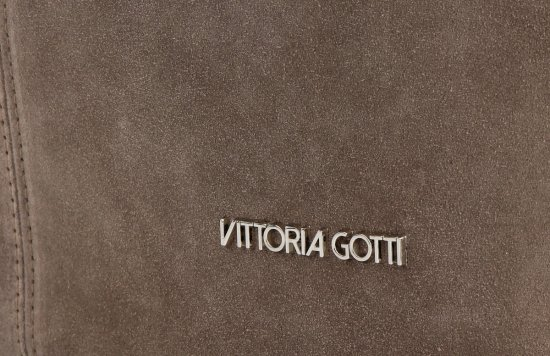 Vittoria Gotti Modna Torebka Skórzana Ekskluzywny Shopper Made in Italy Ziemista