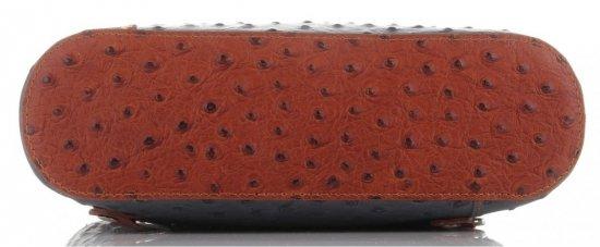 Włoska Torebka Skórzana firmy Genuine Leather Szara z brązem