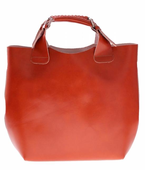 Torebka skórzana Shopperbag z kosmetyczką Ruda