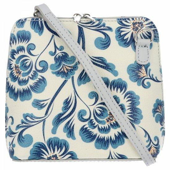 Vittoria Gotti Firmowa Listonoszka Skórzana Made in Italy w malowany wzór kwiatów Niebieska