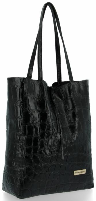 Vittoria Gotti Włoski Shopper XL Uniwersalna Torba Skórzana do noszenia na co dzień z modnym motywem Żółwia Czarna