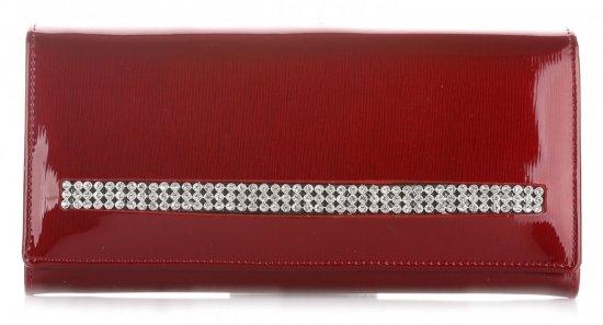 Duży Portfel Damski Skórzany z Kryształkami Moretti Czerwony