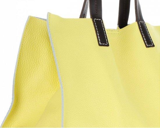Praktyczne Torebki Skórzane 2 w 1 Shopper z Listonoszką firmy Genuine Leather Limonka