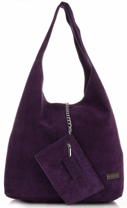 ed8e1549c89d7 Oryginalne Torby Skórzane XL VITTORIA GOTTI Shopper Bag z Etui Fiolet -  Śliwka