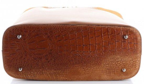 Uniwersalna Torba Skórzana Shopper XXL z Kosmetyczką wzór Aligatora Ruda
