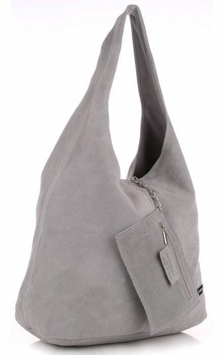 7984e7449220a Oryginalne Torby Skórzane XL VITTORIA GOTTI Shopper Bag z Etui Jasno Szara