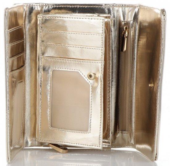 12543527f4403 Ekskluzywny Lakierowany Portfel Damski Diana amp Co Firenze Złoty Metalik
