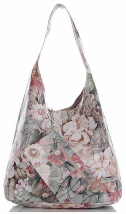72bef87b15512 Torebka Skórzana firmy Vittoria Gotti Uniwersalny Włoski Shopper w modne  wzory Kwiatów Różowa