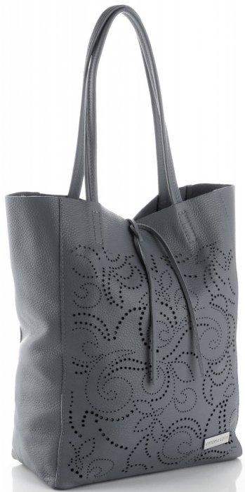 Vittoria Gotti Włoski Skórzany ShoppeBag z Kosmetyczką w modne wycinane wzory Szary