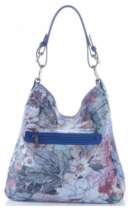 VITTORIA GOTTI Made in Italy Modna Torebka Skórzana w Kwiaty Multikolorowa Niebieska